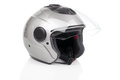 Gray shiny motorcycle helmet white background Stock Photos