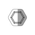 Gray silhouette dotted sticker hexagon of road sign Royalty Free Stock Photo