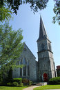 Gray stone episcopal church, steeple, downtown Keene, New Hampsh Royalty Free Stock Photo