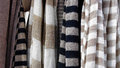 Gray stripped textile hand made fabric Stock Images