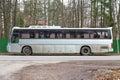 Gray tour bus Royalty Free Stock Photo