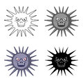 Gray virus icon in cartoon style on white background. Viruses and bacterias symbol stock vector illustration.
