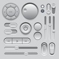 Gray web ui elements design buttons switches sliders Stock Photo