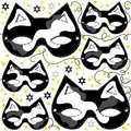 Gray white black pinto cat mask animal party disgu disguise with sparkling gold stars holiday seamless carnival pattern on Stock Photo