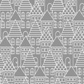Gray and white line city seamless pattern.