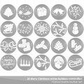 Gray winter holidays christmas button set merry white delicate celebration monochrome Stock Photos