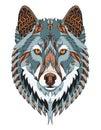 Gray wolf head zentangle stylized, vector, illustration, freehan