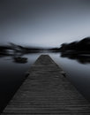 Grayscale Photo of Dock Stock Photography