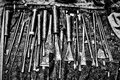 Grayscale shot of different carving tools Royalty Free Stock Photo