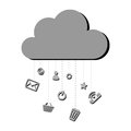 Grayscale silhouette with cloud service storage