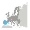Grayscale silhouette with europe map and spain in blue color Royalty Free Stock Photo