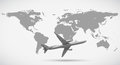 Grayscale of world map and airplane Royalty Free Stock Photo