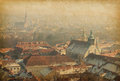 Graz panorama retro image of view from hill above the city center added paper texture Royalty Free Stock Images