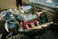 Great amazing closeup view of old vintage classic car engine Royalty Free Stock Photo
