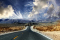 Great american road crossing huge death valley nevadia Royalty Free Stock Images