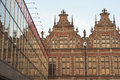 Great armory in gdansk view of the and its reflection into a modern building poland august Stock Images