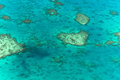 Great barrier reef aerial view of a heart shaped island in Stock Photography