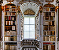 Great biggest library in old abbey baroque style Stock Photos