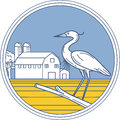 Great Blue Heron Farm Barn Circle Retro Royalty Free Stock Photo