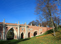 Great bridge across the ravine big sometimes referred to as gothic was built in estate tsaritsyno years Royalty Free Stock Images