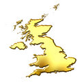 Great Britain 3d Golden Map Stock Image