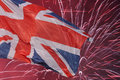Great britain flag over fireworks Royalty Free Stock Image