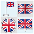 Great britain flag set of sticker button label various and flagstaff Stock Photos
