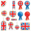 Great britain flags and rosettes Stock Photography