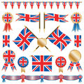 Great britain flags and rosettes Stock Image