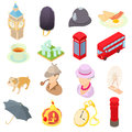 Great Britain icons set, isometric 3d style Royalty Free Stock Photo