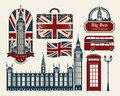 Great britain and london set of drawings on the theme of Stock Images
