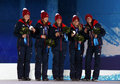 Great britain women s curling team sochi russia february during medal ceremony at sochi xxii olympic winter games Royalty Free Stock Photo