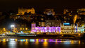 Great casino of santander iluminated at night spain august panoramic view city and reflections in the water the Royalty Free Stock Image