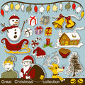 Great christmas collection cartoon grouped separately and ready to use Royalty Free Stock Photos