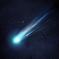 A great comet large and bright breaking up as it gets close to the sun illustration Royalty Free Stock Image