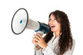 Great communications beautiful businesswoman with a megaphone over a white background Stock Photos