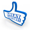 Great content thumbs up feedback website approval a blue thumb s symbol with words to illustrate online features articles or Royalty Free Stock Image