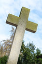 Great cross from concrete symbol for christianity in a cemetery Stock Photography