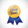 Great deal gold ribbon illustration design Royalty Free Stock Photo