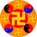 Great Dharma Wheel. Vector illustration.