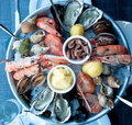 Great dish of crustaceans with mussels, oysters, prawns and scam Royalty Free Stock Photo