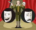 Great english writer talking about theater comedy and drama masks