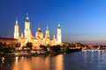 Great evening view of the Pilar Cathedral in Zaragoza Royalty Free Stock Photo