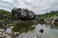 Great falls virginia rocks around national park in Stock Image