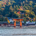 Great floating gate o torii on miyajima island japan november in japan november near itsukushima Royalty Free Stock Photography