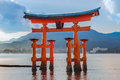 Great floating gate o torii on miyajima island near itsukushima shinto shrine Royalty Free Stock Photography