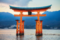 Great floating gate o torii on miyajima island near itsukushima shinto shrine Royalty Free Stock Photo