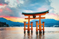 Great floating gate o torii on miyajima island near itsukushima shinto shrine Royalty Free Stock Photos