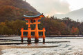 Great floating gate o torii on miyajima island near itsukushima shinto shrine Royalty Free Stock Images