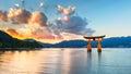 Great floating gate (O-Torii) on Miyajima island near Itsukushima shinto shrine Royalty Free Stock Photo